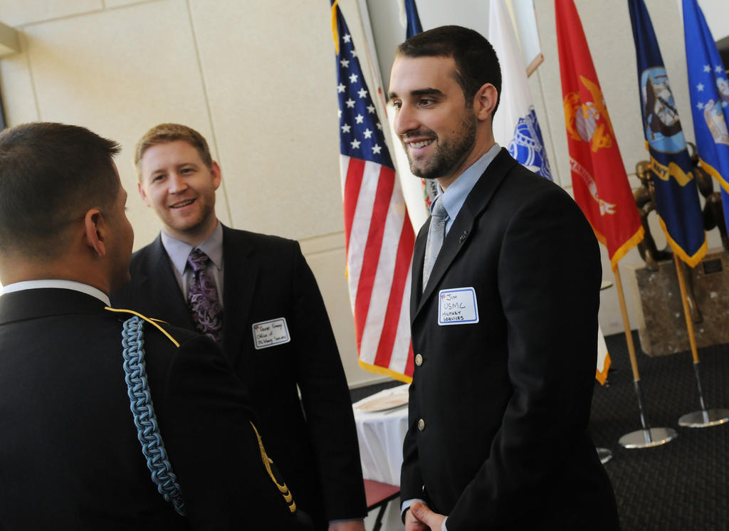 Student veteran and International Studies major, Jim Miller, at the annual Veterans Day luncheon on the Fairfax Campus. Photo by Nicolas Tan
